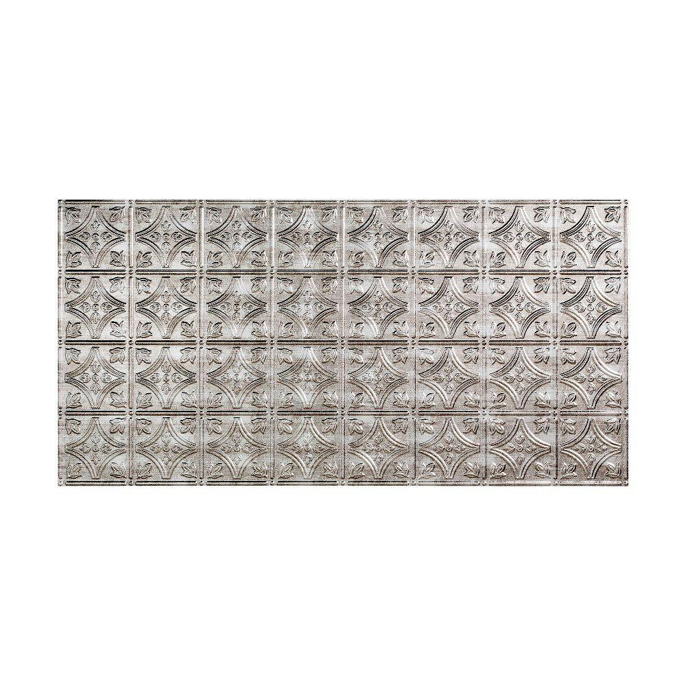 Fasade Traditional 1 - 2 ft. x 4 ft. Glue-up Ceiling Tile in Crosshatch Silver