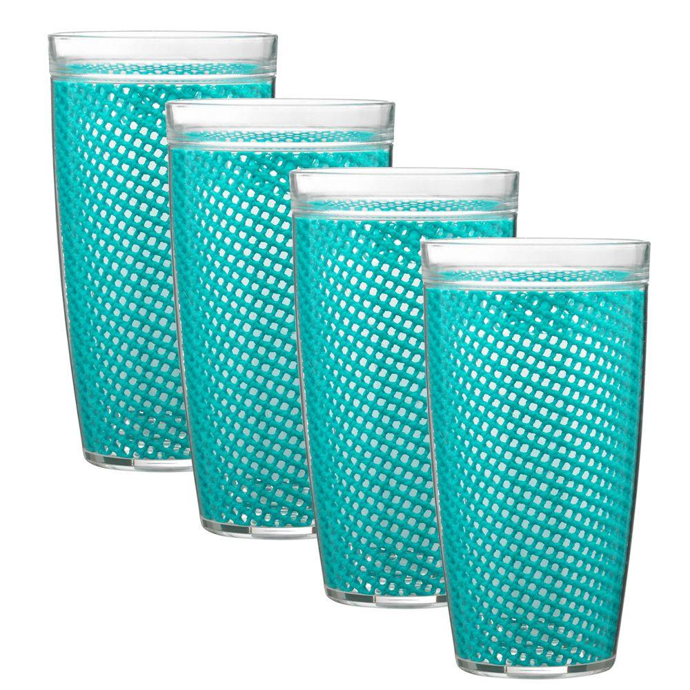 Kraftware Fishnet 24 oz. New Teal Insulated Drinkware (Set of 4)