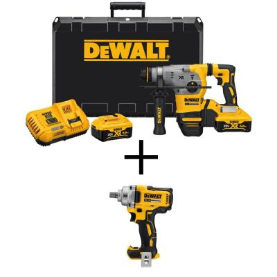 DEWALT 20-Volt MAX XR Lithium-Ion 1-1/8 in. Cordless SDS-Plus Brushless L-Shape Rotary Hammer with Bonus Impact Wrench
