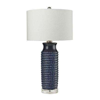 Wrapped Rope 30 in. Navy Blue Ceramic Table Lamp