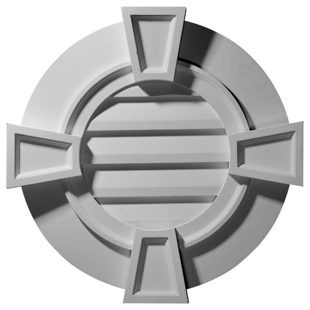 Ekena Millwork 2-1/4 in. x 30 in. x 30 in. Decorative Round Gable Vent with Keystones