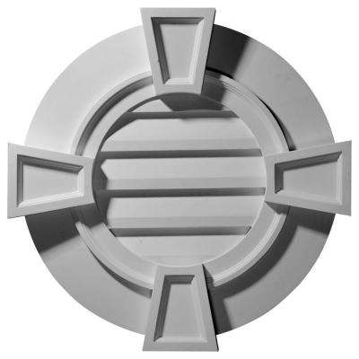 2-1/4 in. x 30 in. x 30 in. Decorative Round Gable Vent with Keystones