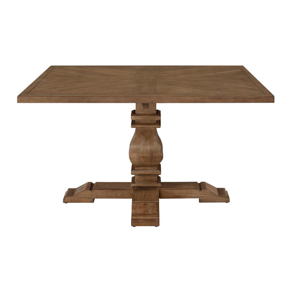 Eldridge - Pedestal Dining Table with Square Top in Haze