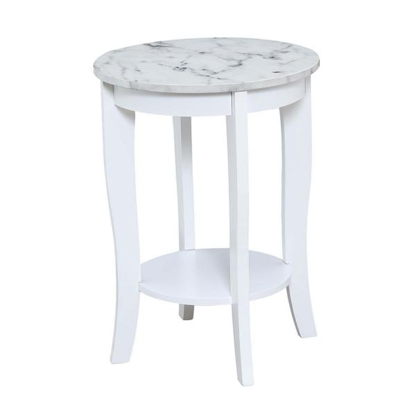 American Heritage White Faux Marble and White Round End Table