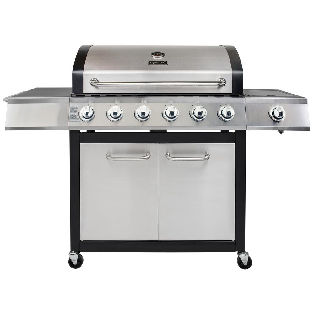 Dyna-Glo 6-Burner Open Cart Propane Gas Grill in Stainless Steel with Side Burner
