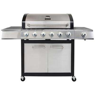 6-Burner Open Cart Propane Gas Grill in Stainless Steel with Side Burner