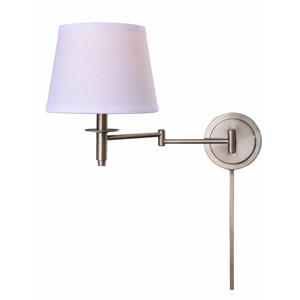 Manor Brook Metropolitan 1 Light Brushed Steel Wall Swing Arm Lamp With Cord Cover