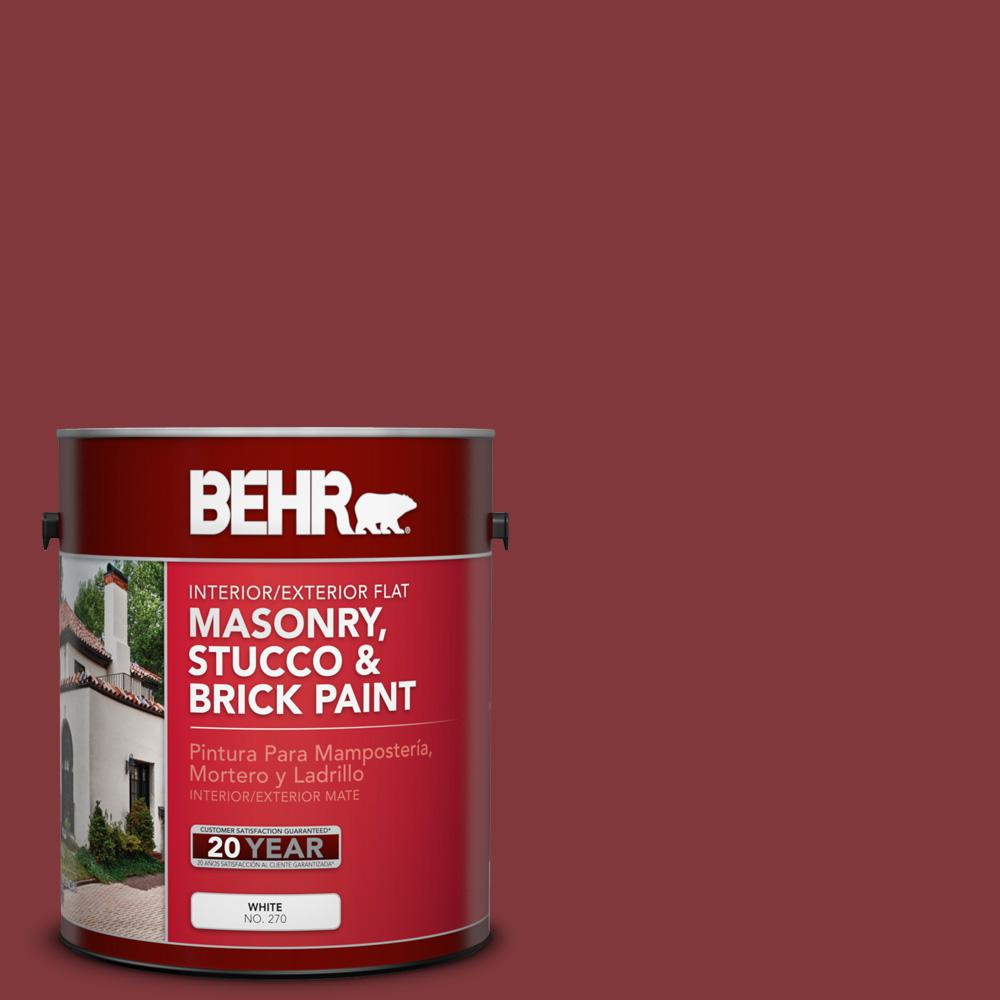 1 gal. #S140-7 Deco Red Flat Interior/Exterior Masonry, Stucco and Brick