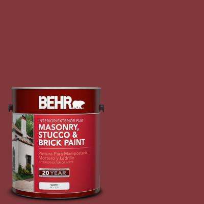 1 gal. #S140-7 Deco Red Flat Interior/Exterior Masonry, Stucco and Brick Paint