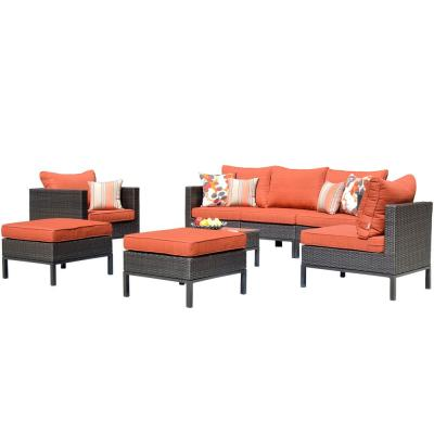 Beige 8-Piece Metal Wicker Patio Conversation Sectional Seating Set with CushionGuard Orange Cushions