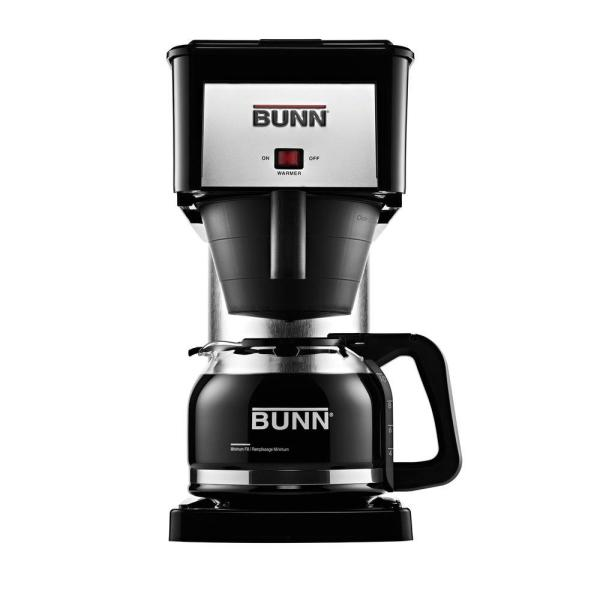 bunn bxb black and silver drip coffee maker and home coffee brewer