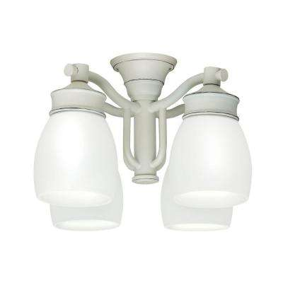 4-Light Cottage White Ceiling Fan Fixture with Cased White Glass