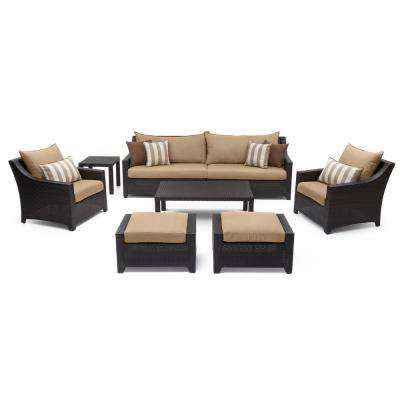 Deco 8-Piece All-Weather Wicker Patio Seating Set with Maxim Beige Cushions