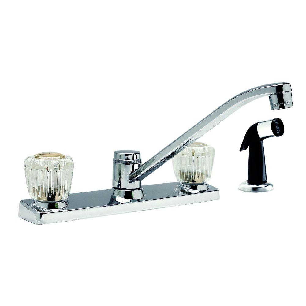 Design House Millbridge 2-Handle Side Sprayer Kitchen Faucet in Polished Chrome-DISCONTINUED