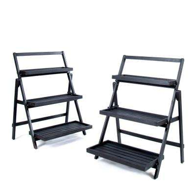 Meridien Dark Grey Wood Plant Stand (2-Pack)