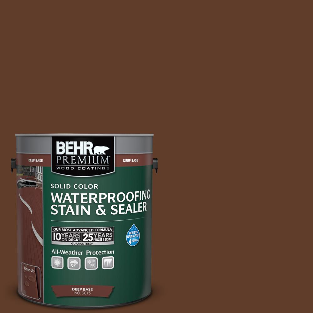 BEHR Premium 1 gal. #SC-135 Sable Solid Color Waterproofing Stain and Sealer