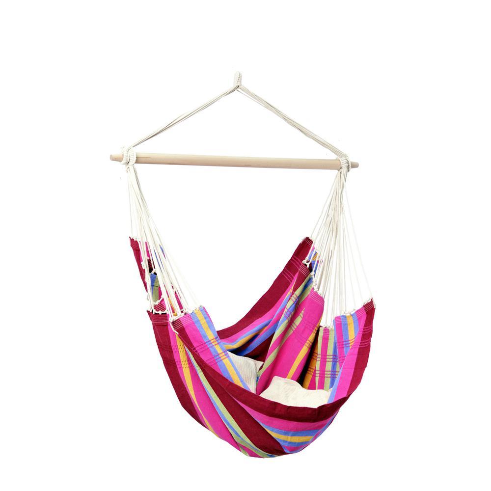 5 ft  8 in  cotton poly brazilian hanging chair smart garden belize 15 ft  premium metal double hammock stand in      rh   homedepot