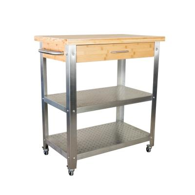 1 Drawer, 2 Shelf Natural Bamboo & Stainless Steel Rolling Kitchen Cart with Side Dishtowel Bar