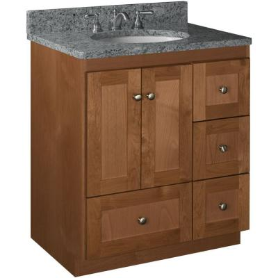 Shaker 30 in. W x 21 in. D x 34.5 in. H Vanity with Right Drawers Cabinet Only in Medium Alder