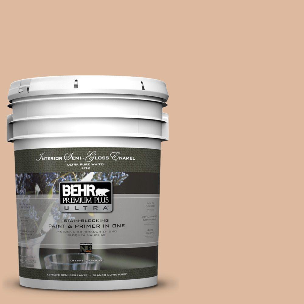 BEHR Premium Plus Ultra 5-gal. #PPU3-9 Pumpkin Cream Semi-Gloss Enamel Interior Paint