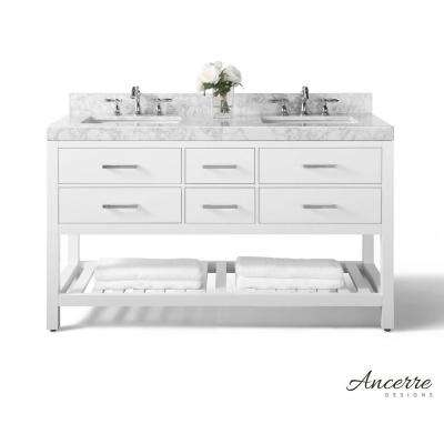 Elizabeth 60 in. W x 22 in. D Vanity in White with Marble Vanity Top in Carrera White with White Basins