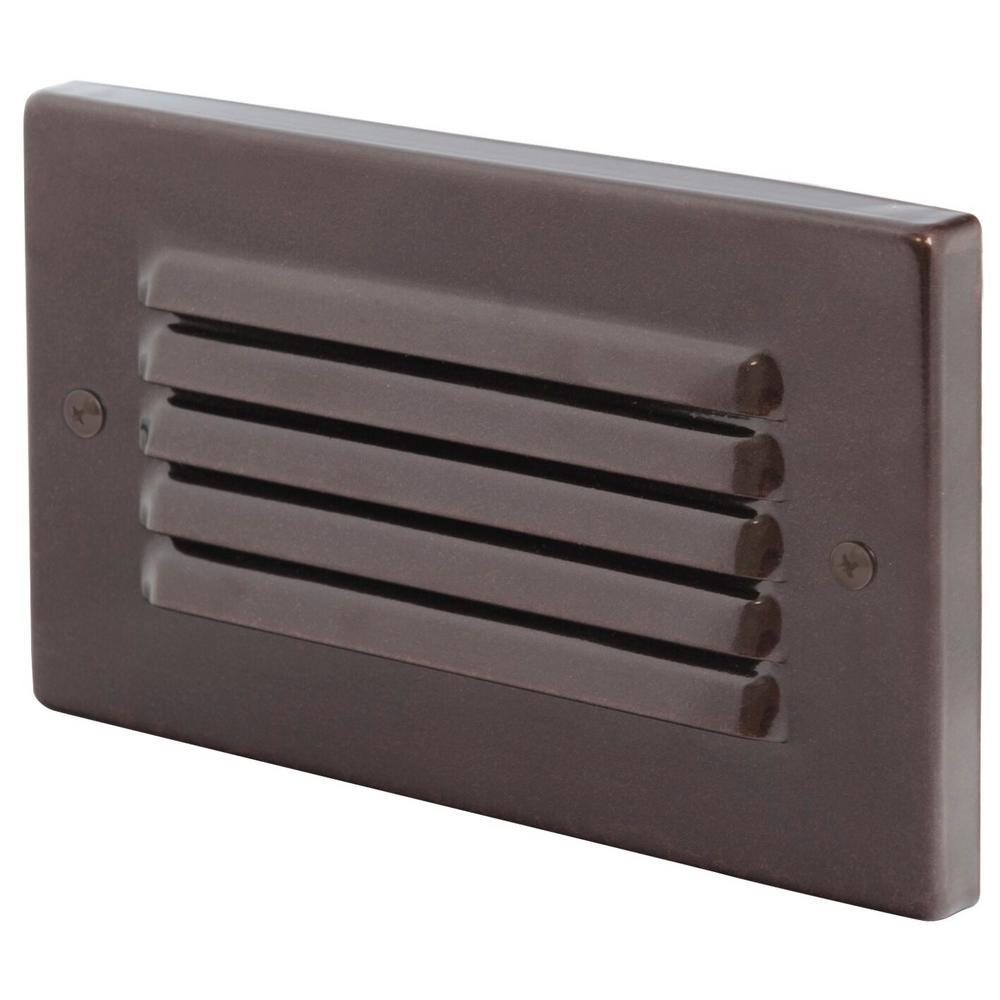 1-Light Bronze Integrated LED Horizontal Deck Step Light
