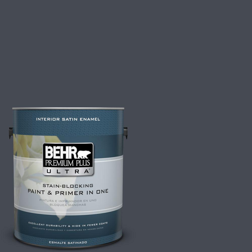 BEHR Premium Plus Ultra Home Decorators Collection 1-gal. #HDC-CL-24 Black Ribbon Satin Enamel Interior Paint