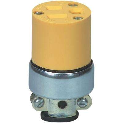15 Amp 125-Volt 5-15 Heavy Duty Grade Armored Vinyl Connector, Yellow