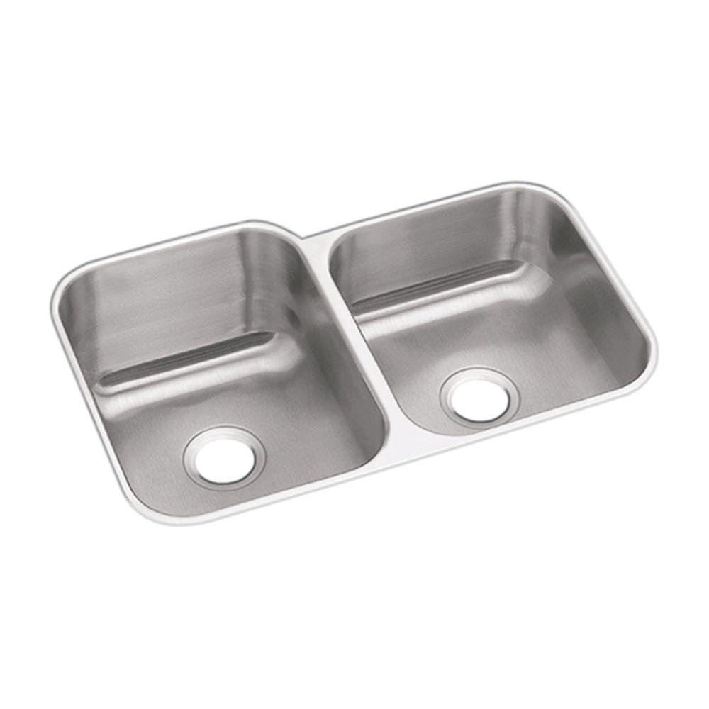 Elkay Dayton Undermount Stainless Steel 32 In Square Offset Double