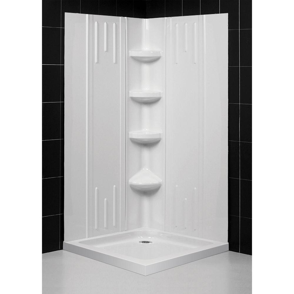 DreamLine SlimLine 36 in. x 36 in. Double Threshold Shower Base in White with Back Walls