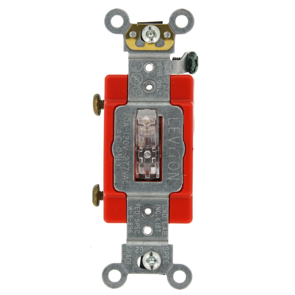 Leviton 30 Amp Industrial Grade Heavy Duty Double Pole Pilot Light Rocker Switches Illuminated Red Led Oval 16 20 Single Lighted Handle Toggle Switch