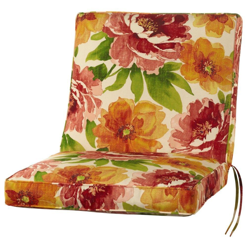 22 x 22 Outdoor Dining Chair Cushion in Standard Muree Primrose