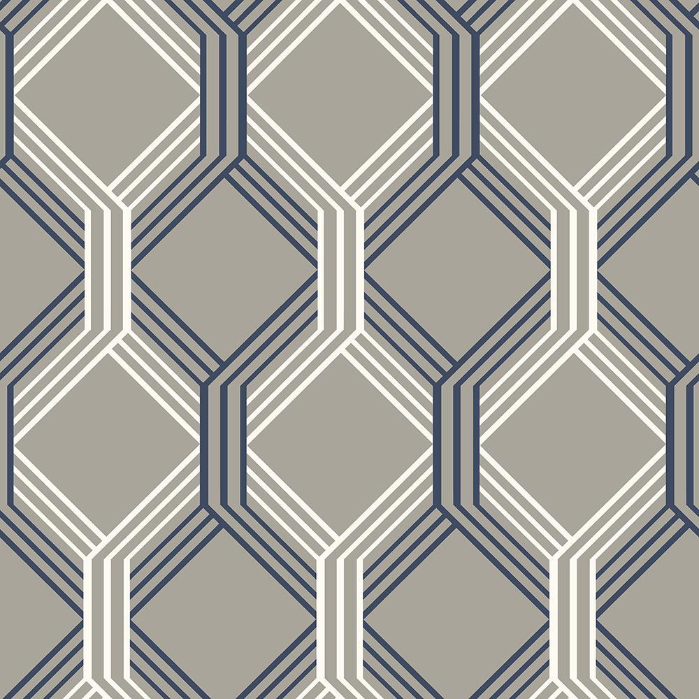 Linkage Navy Trellis Wallpaper Sample