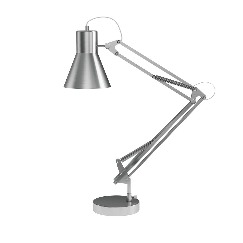 Lavish Home 41 In Brushed Steel Architect Desk Lamp With Adjule Swing Arm