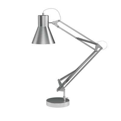 41 in. Brushed Steel Architect Desk Lamp with Adjustable Swing Arm