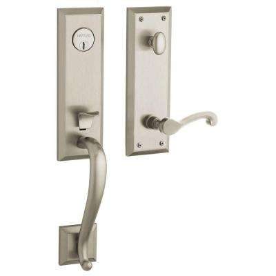 Stonegate Single Cylinder Satin Nickel Left-Handed Door Handleset with Classic Lever