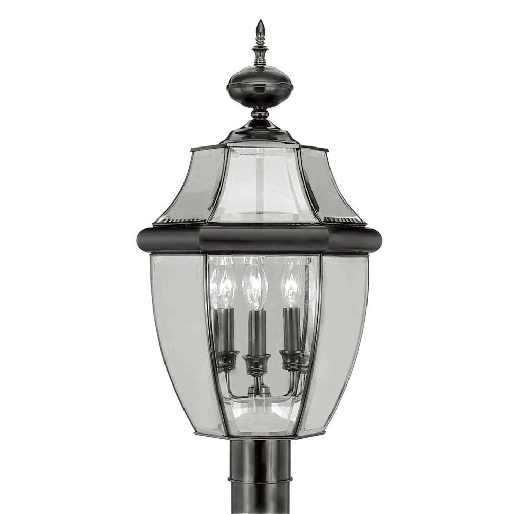 Livex Lighting 3-Light Outdoor Black Post Head with Clear Beveled Glass
