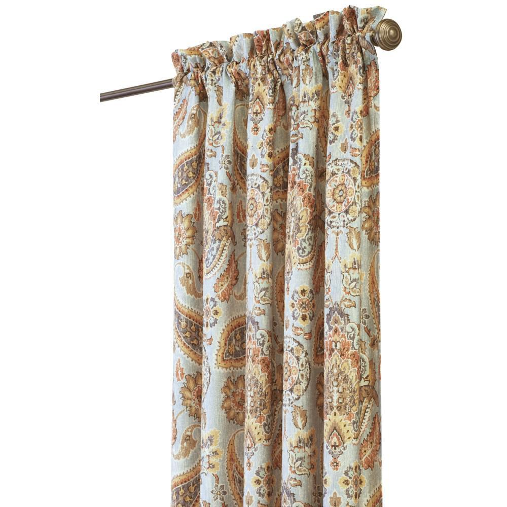 Semi-Opaque Plazzo 84 in. L Cotton Drapery Panel in Sea Breeze