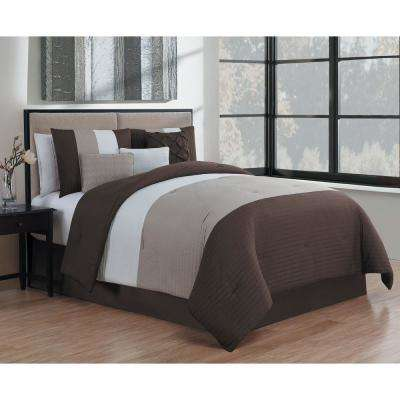 Manchester 7-Piece Brown and Taupe and Ivory Queen Comforter Set
