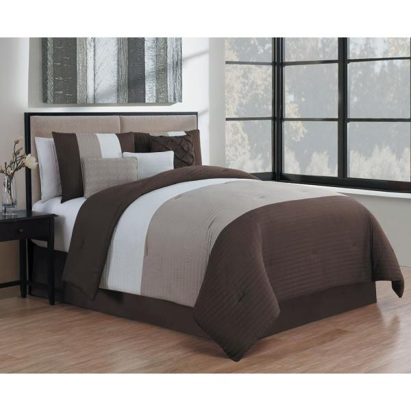 Avondale Manor Manchester 7-Piece Brown and Taupe and Ivory Queen Comforter