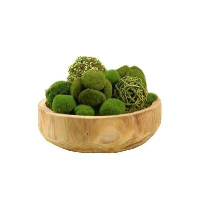 Indoor Assorted Moss Balls in Round Wooden Bowl