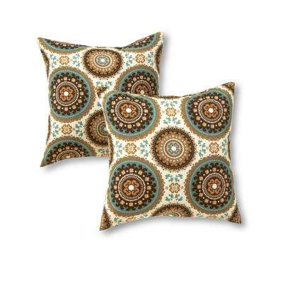 Spray Medallion Square Outdoor Throw Pillow (2-Pack)