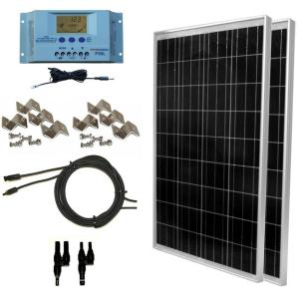 200-Watt Off-Grid Polycrystalline Solar Panel Kit with LCD Controller