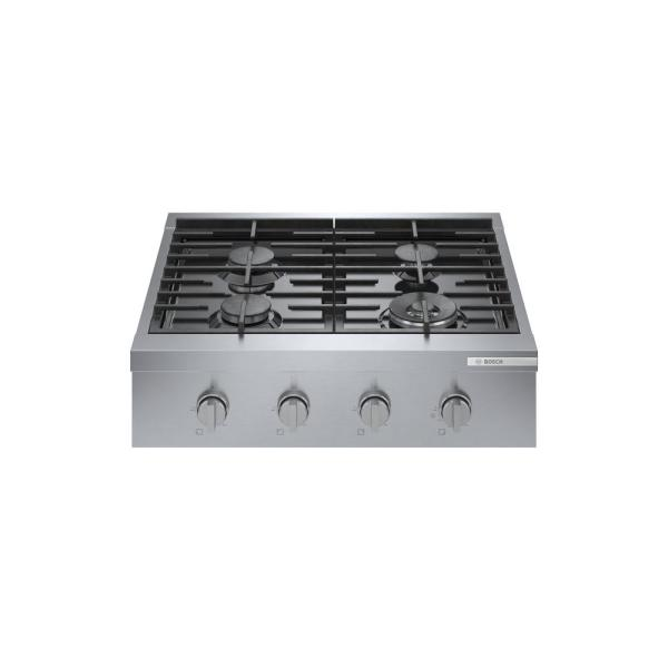 30 in. Gas Cooktop in Stainless Steel with 4-Burners Including 18,000 BTU Burner