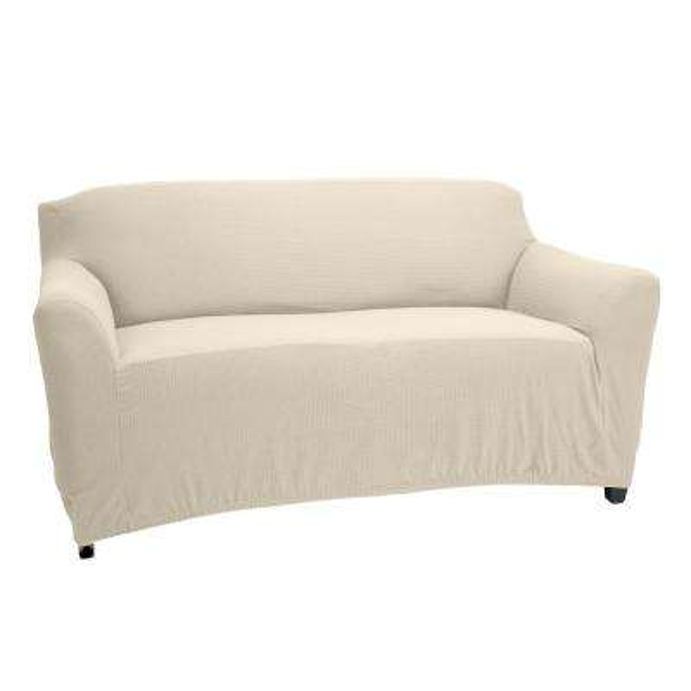 96.5 in. x 47.2 in. x 27.5 in. Pixel  Ivory Stretch Love Seat Slip Cover