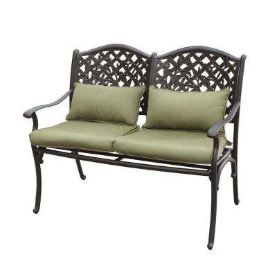 Vining Steel Black Patio Bench with Green Cushions