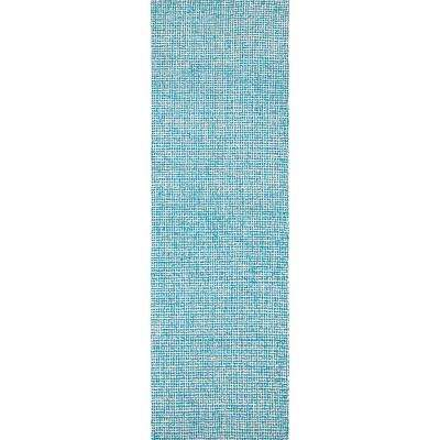 """London Collection Teal 100% Wool 2'6"""" x 8' Hand-Tufted Tweed Area Rug"""