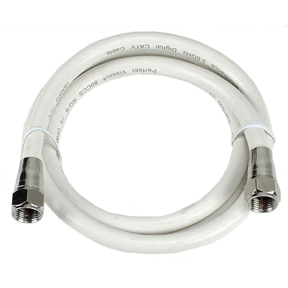 PerfectVision 3 ft. White Coaxial Cable with Ends