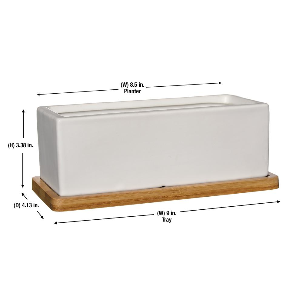 White Ceramic Rectangle Planter