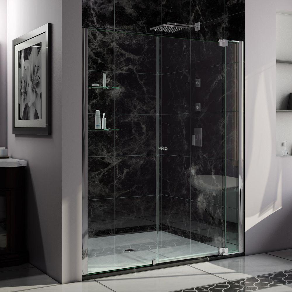 Dreamline Allure 64-In To 65-In W Frameless Chrome Pivot Shower Door S
